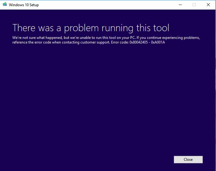 windows 10 install media error